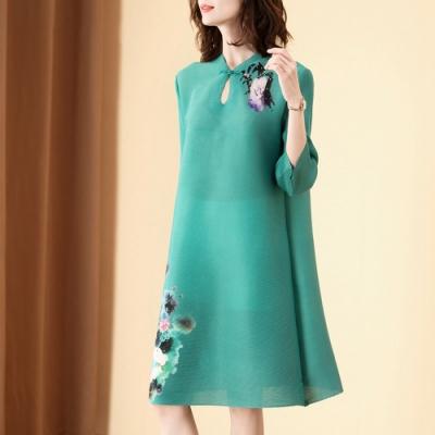 復古珠鑽點綴印花改良式旗袍壓褶洋裝-F-糖潮