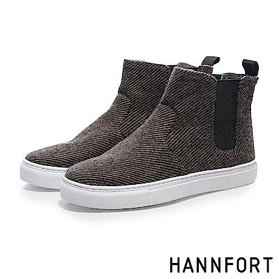 HANNFORT CAMPUS毛呢卻爾西短靴-女-文青咖
