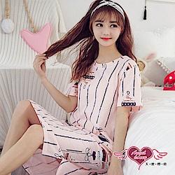 居家睡衣 溫馨裝飾 短袖一件式連身成套休閒服(粉F) AngelHoney天使霓裳