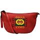 GUCCI   經典half-moon系列復古風格圖案小牛皮綠紅綠織帶半月型肩/斜背包(紅色) product thumbnail 1