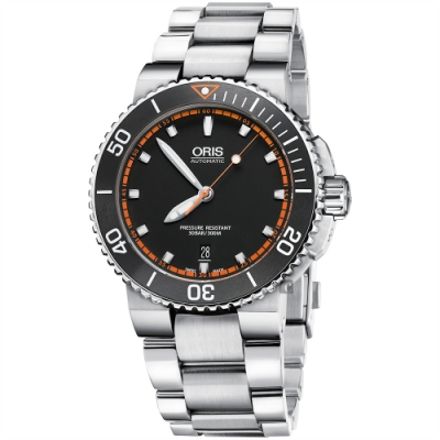 Oris豪利時 Aquis 時間之海300米潛水機械錶-黑x橘圈/43mm