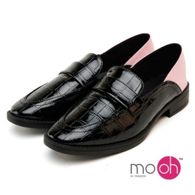mo.oh撞色鱷魚紋女皮鞋踩腳樂福鞋-黑粉色