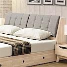 文創集 夏爾比時尚5尺亞麻布雙人床頭箱(不含床底)-152x30x98cm免組