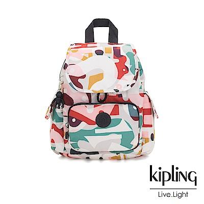 Kipling 音樂派對幾何塗鴉拉鍊掀蓋後背包-CITY PACK MINI