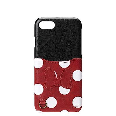 iPhone 8/7 海外限定 迪士尼 皮革插卡口袋 手機硬殼 4.7吋-米妮