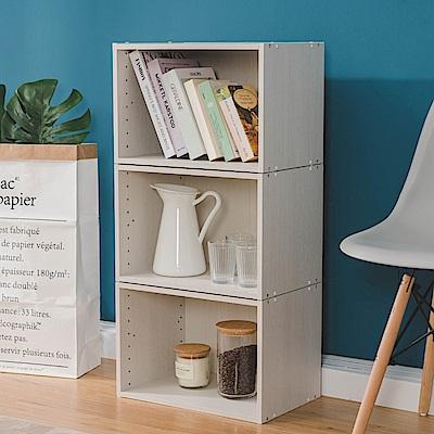 樂嫚妮 DIY 日式 收納櫃/空櫃/書櫃-木紋白色3入組-42X28.2X28.8cm