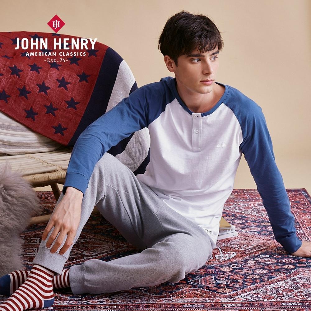 【JOHN HENRY】拼接圓領排扣長袖T恤-兩色選