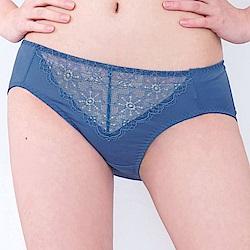 思薇爾 晨曦系列M-XXL蕾絲中腰三角內褲(皇室藍)