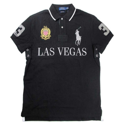 Polo Ralph Lauren 大馬Logo LAS VEGAS 3號馬球黑色短袖網眼Polo衫(Custom Slim Fit)