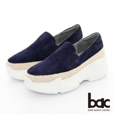 【bac】復古風潮 - 厚底麂皮多層厚底台休閒老爹鞋-藍