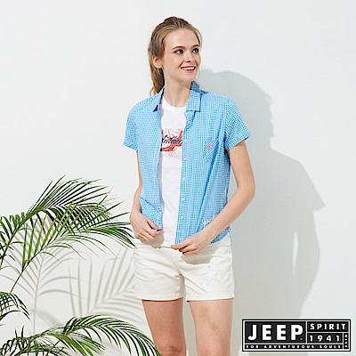 JEEP 女裝 造型緹花格紋短袖襯衫-天空藍