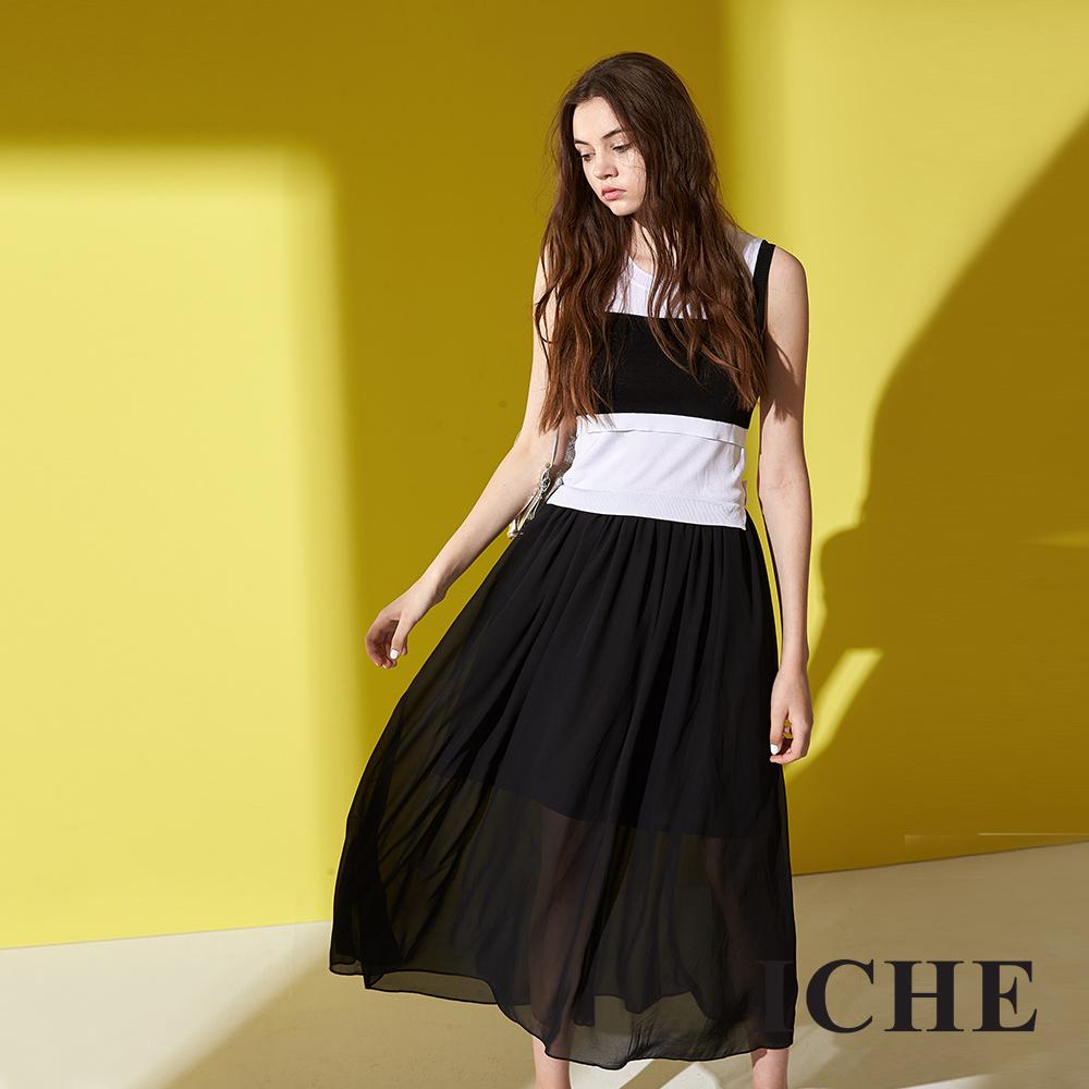ICHE 衣哲 簡約時尚黑白拼接撞色造型針織無袖洋裝-黑