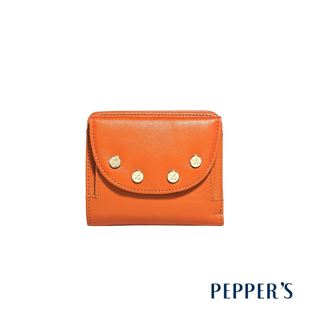 PEPPER'S Claire 點點牛皮短夾 - 艷陽橘