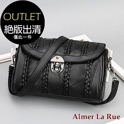 Aimer La Rue 編織轉釦側背包(黑色)(絕版出清) @ Y!購物