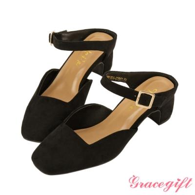 Grace gift X Wei-聯名方頭繫帶後空跟鞋 黑