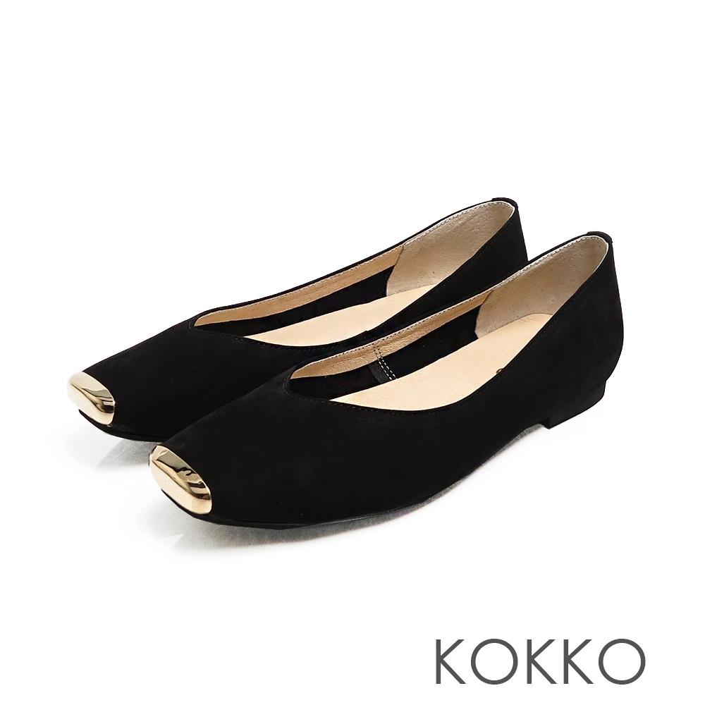 KOKKO - 漫步澄花大道金屬真皮方頭鞋-霧面黑