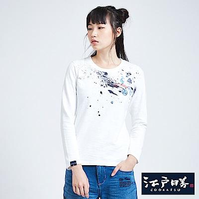 EDWIN EDOKATSU 江戶勝 噴漆斑駁長袖T恤-女-米白