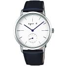 agnes b.法式風情簡約手錶(BN4001X1)-白x藍/38mm