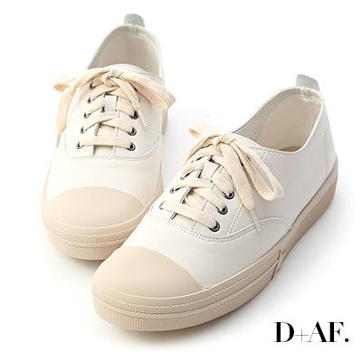 D+AF 悠閒樂趣.圓頭綁帶平底休閒鞋*米