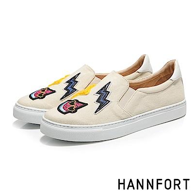 HANNFORT CAMPUS丹寧微笑徽章厚底休閒鞋-女-卡其米