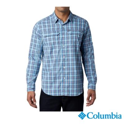 Columbia 哥倫比亞 男款- 防曬UPF50快排長袖襯衫-藍色 UAE06490BL