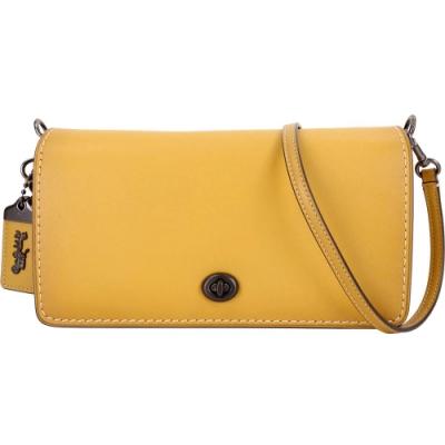 COACH Dinky 棒球手套鞣製皮革祖母釦內袋鍊帶肩背包(薑黃色)