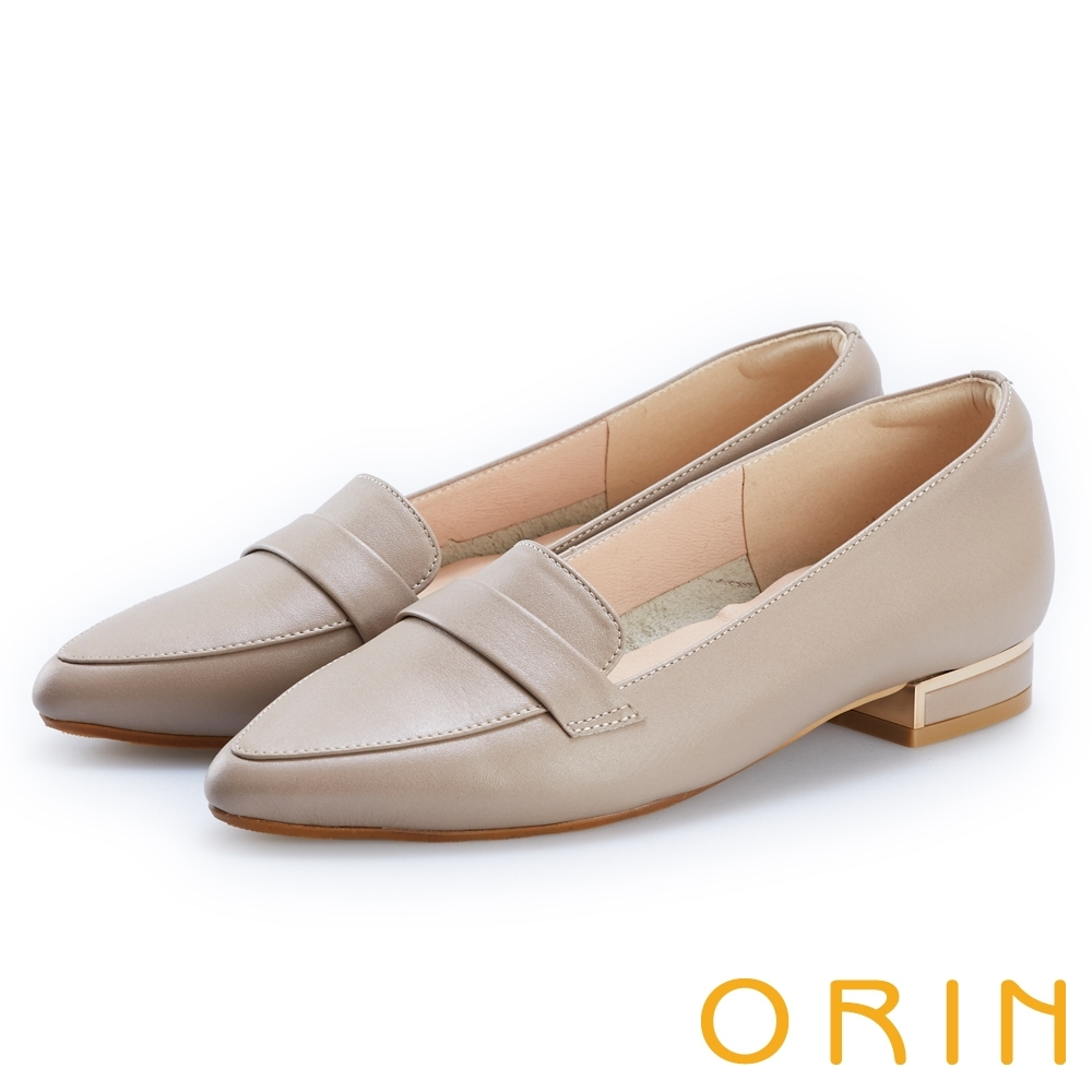 ORIN 品味尖頭牛皮低跟樂福鞋 可可