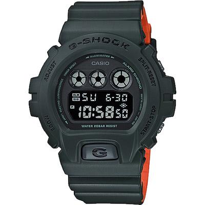 G-SHOCK 一級玩家多功能數位男錶-墨綠X橘(DW-6900LU-3D)/50mm