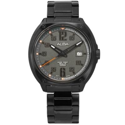 ALBA 數字時標 藍寶石水晶玻璃 日期 防水100米 不鏽鋼手錶-灰x鍍黑/43mm