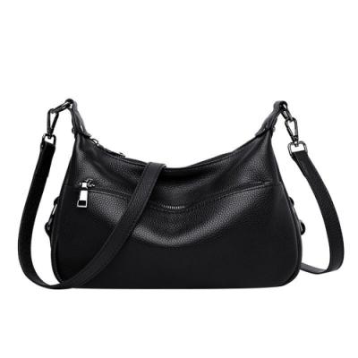 米蘭精品 側背包真皮肩背包-牛皮簡約大容量純色女包包情人節生日禮物2色73yp49