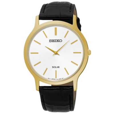 SEIKO精工   時尚爾雅超薄太陽能石英腕錶(SUP872P1)-白x38mm