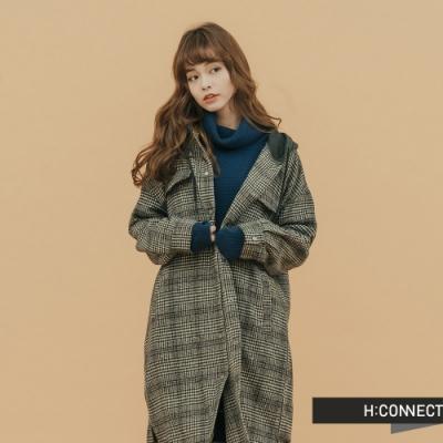 H:CONNECT 韓國品牌 女裝 - 千鳥格連帽長版外套 - 黑