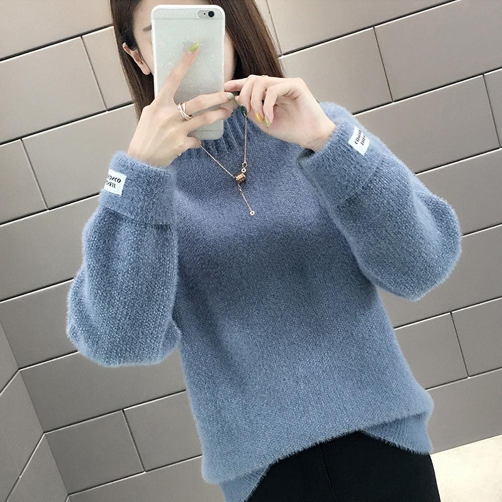 初色  加厚寬鬆半高領毛衣-共6色-(F可選)