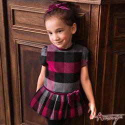 Annys可愛滿版格紋玫瑰壓褶蓬蓬花苞洋裝*6259紫