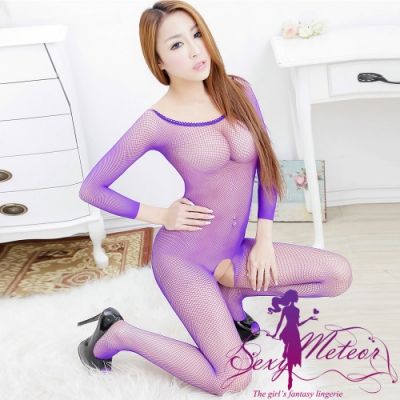 網衣 全尺碼 圓領網洞開襠長袖連身性感睡衣網衣洞洞裝(媚惑紫藍) Sexy Meteor