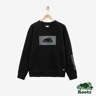 ROOTS 男裝- 全彩刷毛圓領上衣-黑色