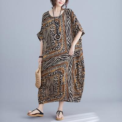 米蘭精品 連身裙短袖洋裝-時尚豹紋斑馬紋印花女裙子73xz28