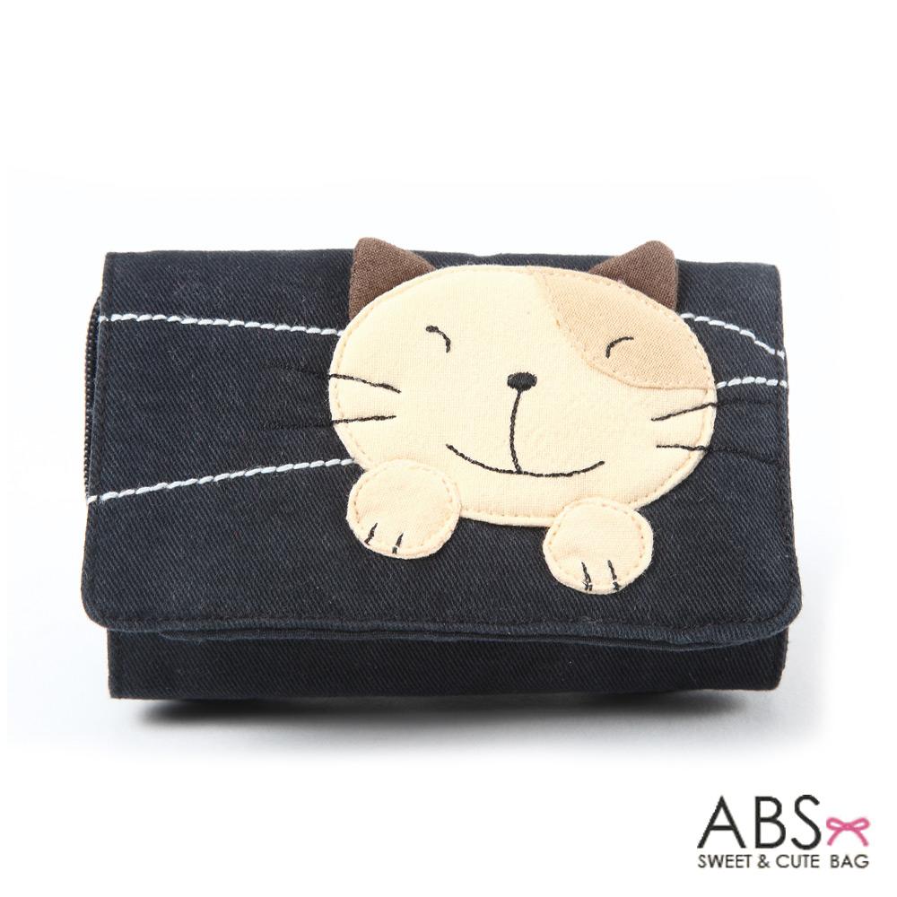 ABS貝斯貓 Simple Style複合式拼布零錢短夾(個性黑)88-031