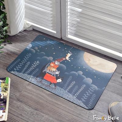 義大利Fancy Belle X DreamfulCat 抓月亮 防霉抗菌可水洗軟式珪藻土強效吸水地墊 60*39CM