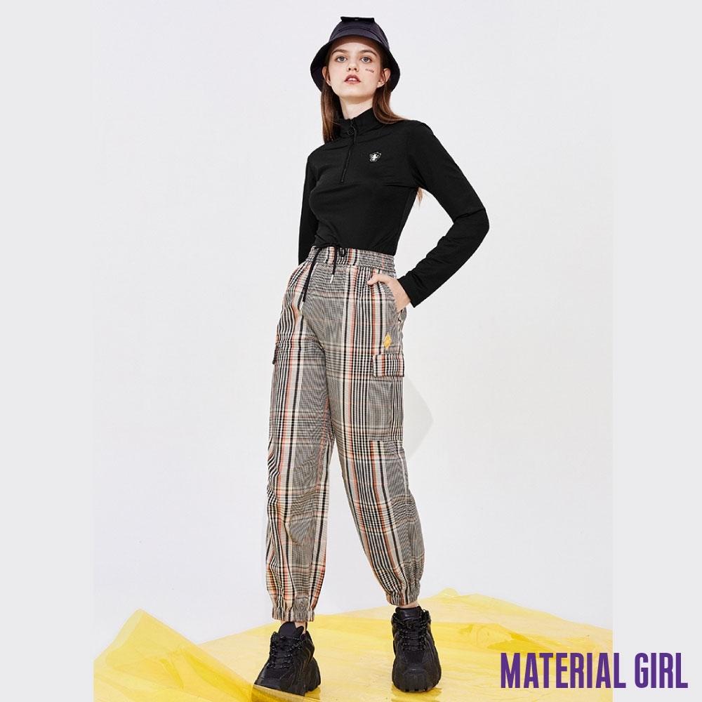 MATERIAL GIRL 撞色橘格紋寬鬆英倫風綁帶長褲【20春季款】-A1205B7