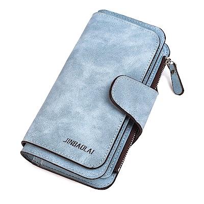 JINBAOLAI  GT3301BU長款磨砂面料搭扣女士韓版三折手機長夾藍色