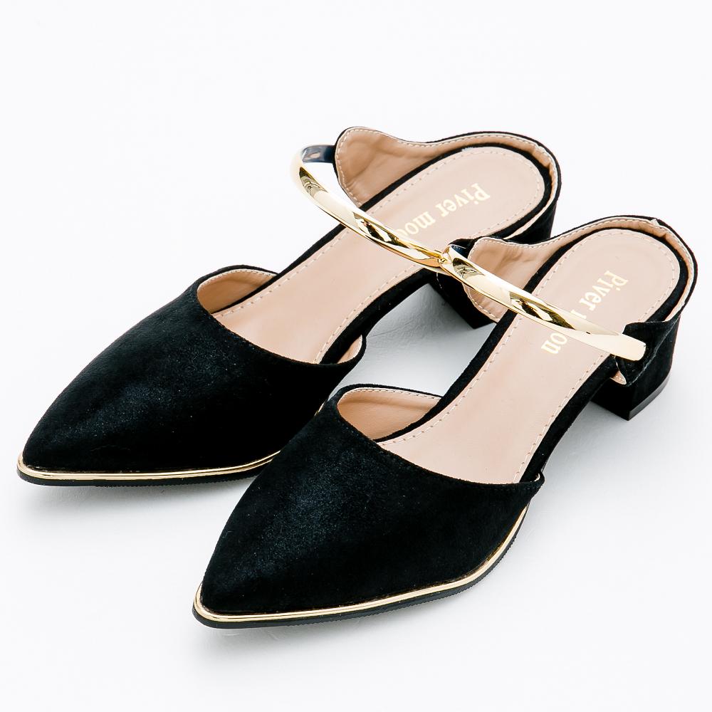 River&Moon大尺碼-復古風情尖頭金屬粗跟穆勒鞋-黑