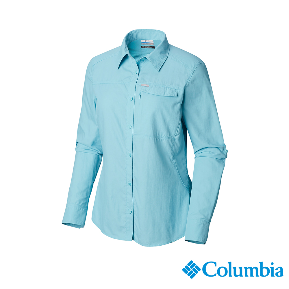 Columbia 哥倫比亞 女款-UPF50快排長袖襯衫-藍色 UAK26570BL