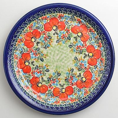 【波蘭陶 Zaklady】 繽紛紅卉系列 圓形餐盤 25cm 波蘭手工製