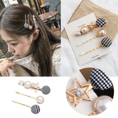 kiret韓國 甜美學院風格紋水鑽髮夾3入組 (贈珍珠bb夾)