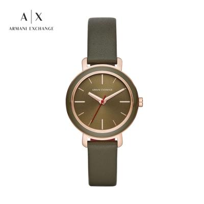 A│X ARMANI EXCHANGE BETTE 玫瑰金光澤綠色皮革女錶-34mm(AX5701)