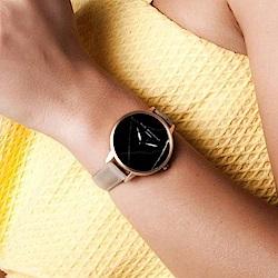 Elie Beaumont 英國時尚手錶 大理石系列 黑錶盤褐色皮革錶帶x玫瑰金框38mm