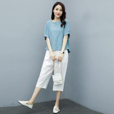 圓領寬鬆泡泡袖純色上衣+舒適七分褲M-2XL(共二色)-Keer