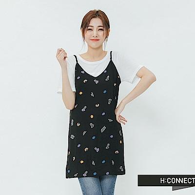 H:CONNECT 韓國品牌 女裝-可愛塗鴉印花細肩洋裝-黑
