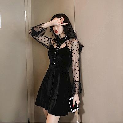 DABI 韓系絲絨翻領拼接網紗透視喇叭袖長袖洋裝